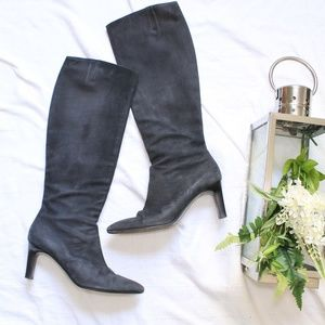 Salvatore Ferragamo Black Soft Leather Heel Boots